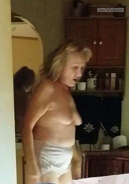 Tit Flash: Wife's Small Tits - Topless Mature Carol from United States